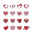 Red hearts icons set vector image vector image
