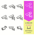 security camera line icon editable stroke vector image