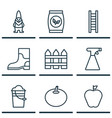 set of 9 plant icons includes dwarf taste apple vector image vector image