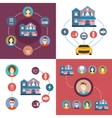 Set of elements system interaction smart home vector image vector image