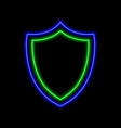 shield neon sign bright glowing symbol on a black vector image