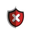 shield with x symbol vector image