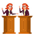 speaker woman podium with microphone vector image vector image