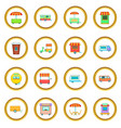 street food kiosk vehicle icons circle vector image vector image