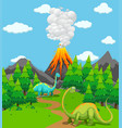 two dinosaurs and volcano eruption vector image vector image