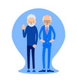 two elderly men stand near one pensioner in the vector image