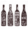 typography set wine bottle silhouette vector image vector image
