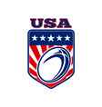 USA rugby ball stars stripes shield vector image