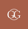 white gg initial letter logo vector image vector image