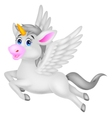 White unicorn horse cartoon vector image vector image