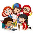 Children working in group vector image