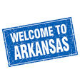 Arkansas blue square grunge welcome to stamp vector image