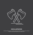 axe hatchet tool cutter viking icon line symbol vector image
