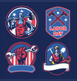 badge collection american labor day vector image vector image