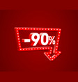 banner 90 off with share discount percentage neon vector image vector image