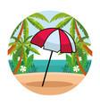 beach striped umbrella open cartoon vector image vector image