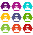 bearded man avatar icon set color hexahedron vector image vector image