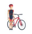 bicycle and man with helmet vector image vector image