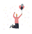 birthday guy jumping with balloons vector image
