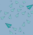 blue paper airplanes flying in sky background vector image vector image
