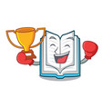 boxing winner opened book in the cartoon box vector image vector image