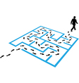 Business man path footprints solution puzzle vector image vector image