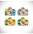 camera symbol with colorful geometric graphic vector image