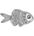 card with fish coloring book page for adults vector image