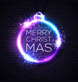christmas lights background xmas neon letters vector image