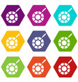 color picker icon set color hexahedron vector image vector image