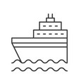 cruise ship on sea waves thin line icon vector image