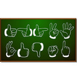 Different hand gestures on blackboard vector image