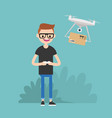 drone delivery service young character vector image vector image