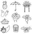 Element of thanksgiving set doodles vector image vector image