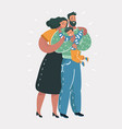 family hugging together vector image vector image