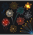 fireworks set colorful explosions realistic style vector image