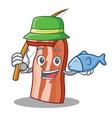 fishing bacon mascot cartoon style vector image vector image