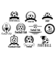 Football or soccer black and white emblems vector image vector image