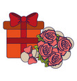 gift box and flowers present vector image vector image
