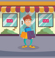 guy standing on street near entrance to store vector image