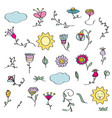 hand drawn doodle set of flowers vector image