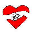hand of couple holding on red heart shape vector image vector image