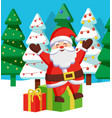 happy christmas holidays santa claus with gifts vector image vector image