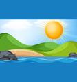 landscape background design with big sun over vector image vector image