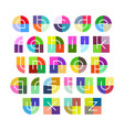 linear alphabet letters with colorful background vector image vector image