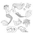 mermaid lover cartoon monochrome vector image