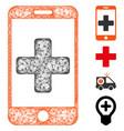 mobile medical help web mesh vector image vector image