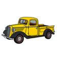 old yellow pick-up vector image vector image