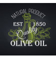 olive oil label chalkboard style vector image