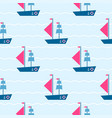 pattern with boats on sea vector image vector image